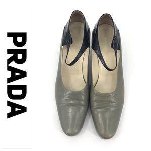💕SALE💕 Prada Gray & Black Mary Jane Heels